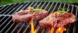 canvas print picture - Succulent slices of raw beef steak on a BBQ