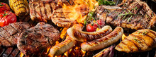 Various Kinds Of Pork Meat And Sausages On Grill