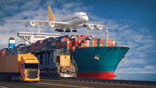 Transportation And Logistics Of Container Cargo Ship.