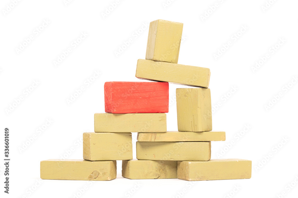 Fototapeta Vintage green building blocks isolated on white, one standing out