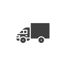 Delivery Truck Vector Icon. Filled Flat Sign For Mobile Concept And Web Design. Goods Carrying Truck Glyph Icon. Symbol, Logo Illustration. Vector Graphics
