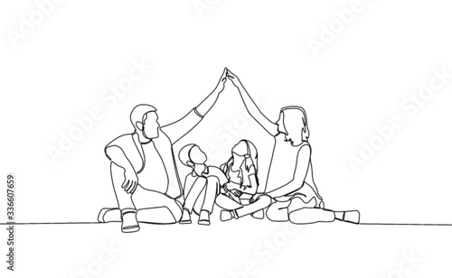 Fotografía continuous single drawn one line family interaction Vector family interaction hand drawn sketch simplicity style