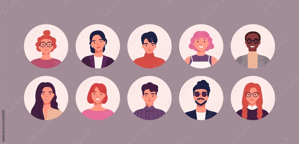 Fototapeta Bundle of different people avatars. Set of colorful user portraits. Male and female characters faces. Smiling young men and women avatar colletion. Vector illustration in flat cartoon style