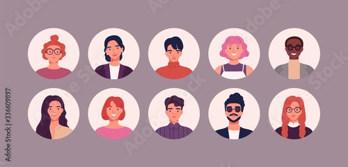 Fotografiet Bundle of different people avatars