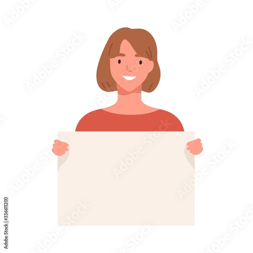 Young woman demonstrating empty placard isolated on white background Fototapet
