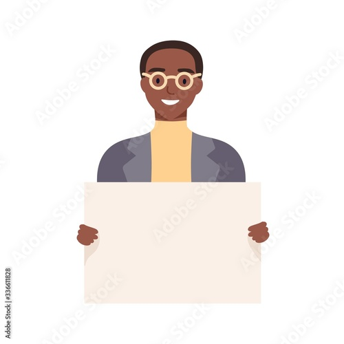 Smiling african american guy holding empty placard isolated on white background Wallpaper Mural