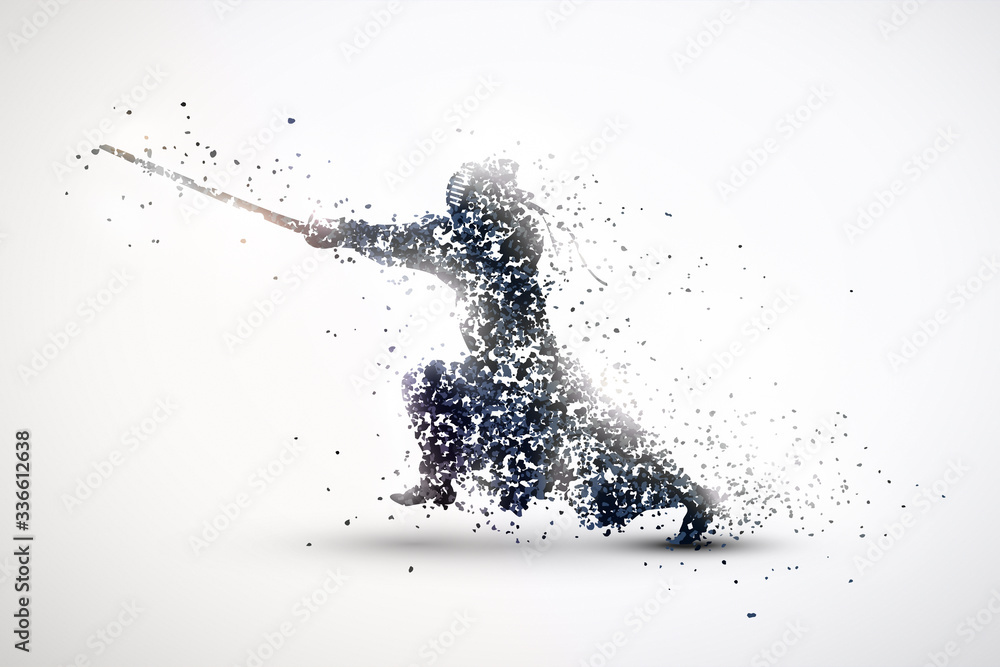 Fototapeta silhouette of kendo from particles 2. silver light background.