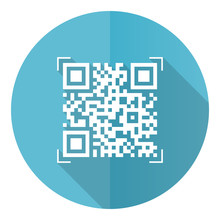 Qr Code Blue Round Flat Design Vector Icon Isolated On White Background, Shopping Illustration In Eps 10