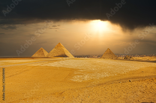 The famous pyramids at Giza in Egypt #336614444