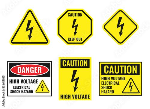 Fotografija high voltage sign set, danger of electricity icons