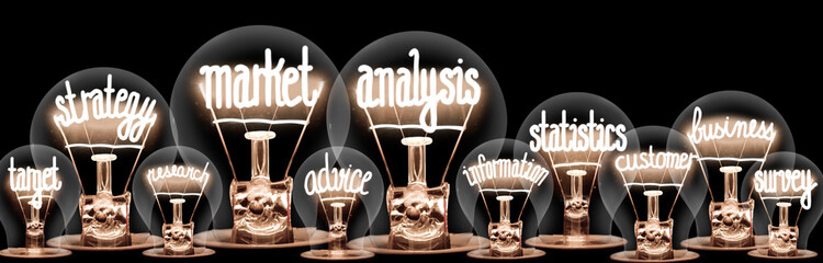 Light Bulbs with Market Analysis Concept