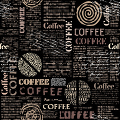 FototapetaCoffee. Abstract coffee pattern with lettring. Seamless vector pattern.