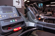 Treadmill in the gym. Close up monitor