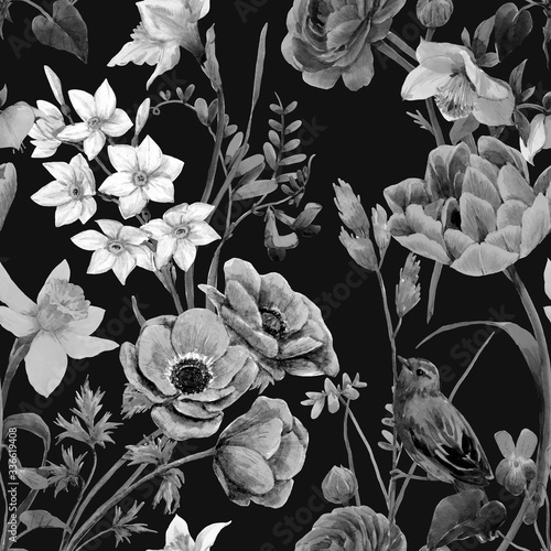 Tapeta czarna  beautiful-floral-summer-seamless-pattern-with-watercolor-flowers-black-and-white-monochrome-stock-illustration