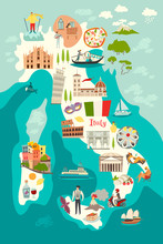 Italy Map Vector. Illustrated ...