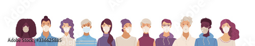 Women and men wearing safety breathing masks
