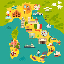 Italy Poster. Cartoon Map Of Italy For Kid/children. Italian Landmarks Vector Cute Poster. Illustrated Card. Italian Mozzarella And Pizza, Travel Attractions And Landmarks