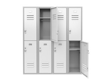 White Metal Locker With Open Doors. Two Level Compartment. 3d Rendering Illustration