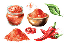 Red Hot Chili Pepper Set With Powder, Sauce And Pods With Green Leaf. Hand Drawn Watercolor Illustration  Isolated On White Background