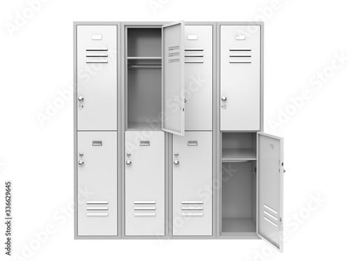 Fototapeta White metal locker with open doors. Two level compartment. 3d rendering illustration obraz