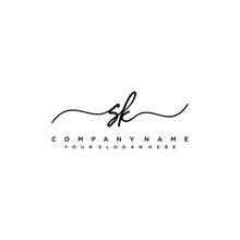 SK Initial Handwriting Logo Vector Template