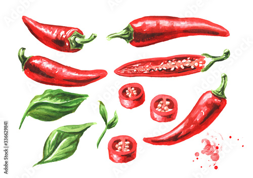 Red hot chili pepper, whole pods, chopped, halved, and sliced set with green leaf Canvas