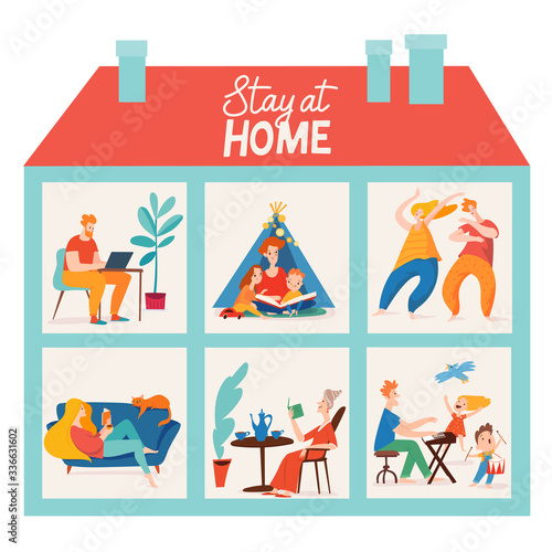 Stay at home vector quarantine illustration with family spend time together Canvas Print