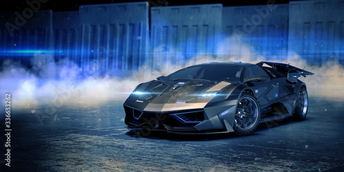 Plakaty motoryzacja   3d-rendering-of-a-brand-less-generic-concept-car