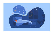 Cartoon Person Sleeping In Her Bedroom At Night. Woman Resting In Bed And Dreaming On Night Starry Sky. Vector Illustration For Bedtime, Comfort, Nighttime Concept