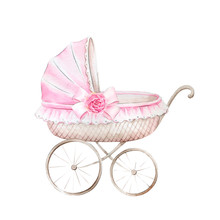 Pink Stroller For Baby Girl.Watercolor Hand Drawn Illustrations Isolated On White Background.