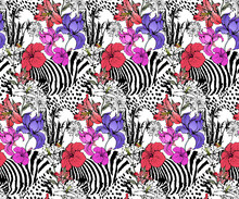 Seamless Pattern Of Zebra And ...