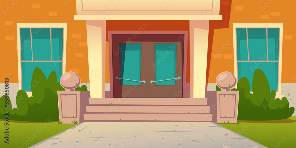 Fototapeta School entrance, building of college campus. Educational institution facade exterior with wooden doors, stone stairs, glass windows, green plants and lawn at front yard, Cartoon vector illustration