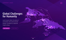 Global Challenges For Humanity. International Problems News. Vector World Map Showing Connect Countries, Contagious Disease Spread, Network Of Global Economy. Viral Pandemic, Infection Transmission