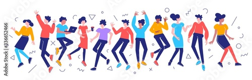 Foto Vector bright color illustration of group of young happy dancing
