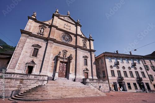 Chiesa Collegiata dei Santi Pietro e Stefano. Architecture of south region of Switzerland. Old town of Bellinzona.