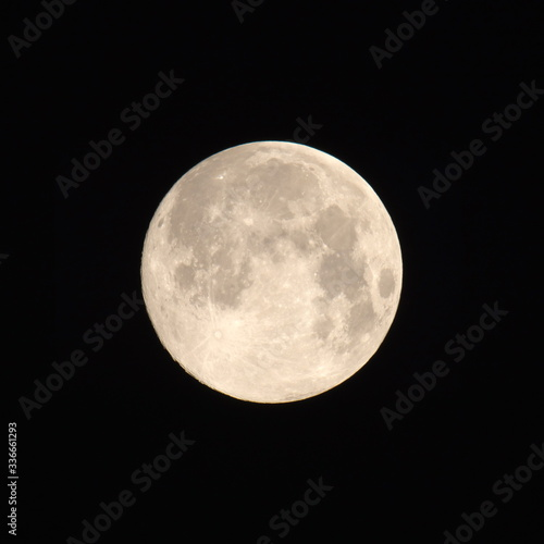 Tokyo,Japan-April 8, 2020: The supermoon, the largest full moon of 2020, observe Canvas Print