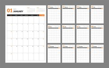 Wall Calendar Template For 2021 Year. Planner Diary In A Minimalist Style. Week Starts On Sunday. Monthly Calendar Ready For Print.