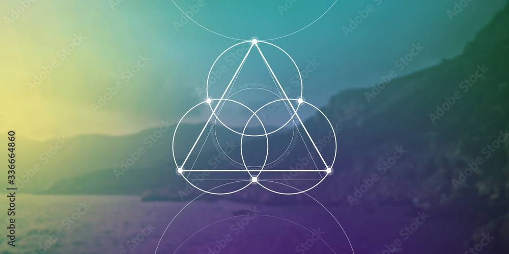 Fototapeta Sacred geometry web banner. Math, nature, and spirituality in nature. The formula of nature.