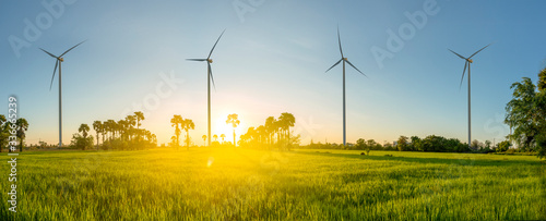 Obraz Wind turbine or wind power Translated into electricity, environmental protection Make the world not hot. - fototapety do salonu