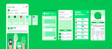 Whatsapp Screen UI Post Delivery Chat Frame With Stories Vector Mobile App. Social Network On Mobile Phone With Profile, Dashbord,  Feedback, News, History, Friends, Notifications, Check Mark.