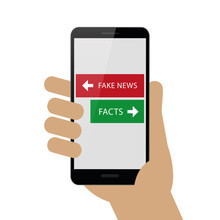 Fake News And Facts In Smartphone Vector Illustration EPS10