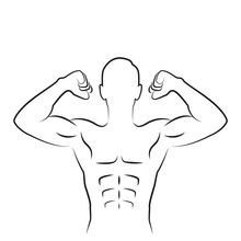 Muscular Strong Man Outline Is...