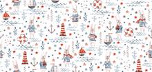 Seamless Nautical Baby Pattern...