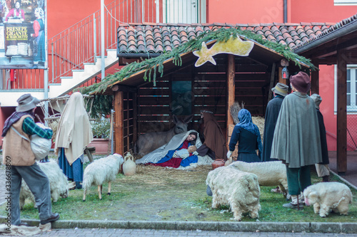 Photo Christmas giant nativity scene of Marchetto, Biella, Italy