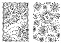 Set Of Coloring Pages With Flowers Pattern. May Be Used For Print Of Postcards, Congratulation Cards Or Fabric Bags. Hand Drawn Illustration For Coloring Book In Zentangle Style.