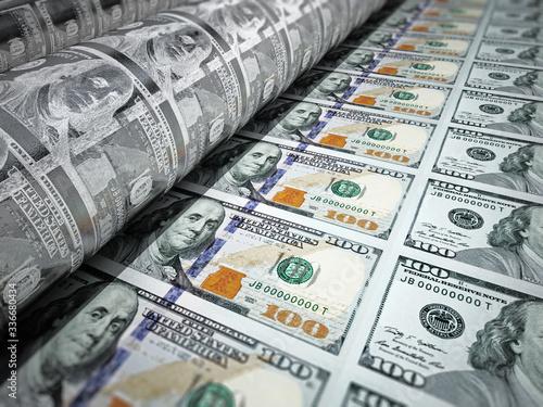 Money printing machine printing 100 dollar banknotes Fototapeta