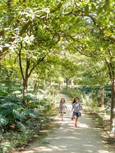 Enfants Courant Dans Un Parc A...