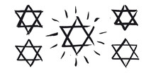 Star Of David, Set. Hand Drawn...