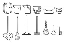Outline Style Set Of Cleaning ...