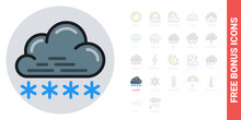 Snow Or Snowfall Icon For Weat...